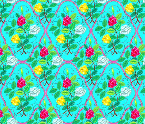 Victorian Rose Ogee ~ Shabby Chic ~ On Trinket fabric by peacoquettedesigns on Spoonflower - custom fabric