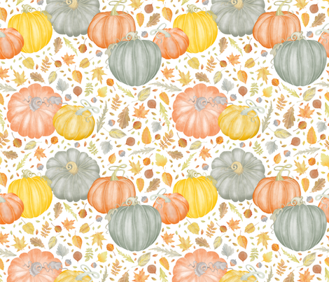 Painted_Pumpkins_and_Fallen Leaves fabric by j9design on Spoonflower - custom fabric