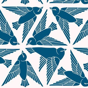 Geometric Birds - Blue on White