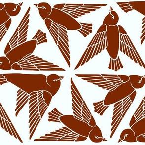 Geometric Birds - Red on White