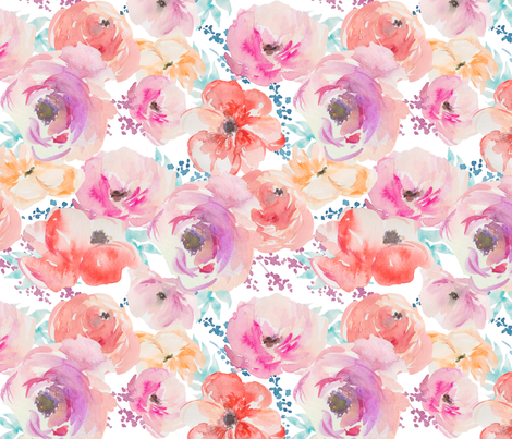 Watercolour Floral - Large Scale fabric by longdogcustomdesigns on Spoonflower - custom fabric
