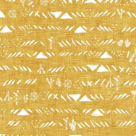 Sticks and stones (mustard) fabric by nouveau_bohemian on Spoonflower - custom fabric