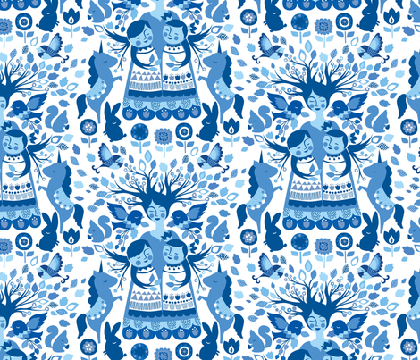 The Mother Tree {Folk Blue} fabric by ceciliamok on Spoonflower - custom fabric
