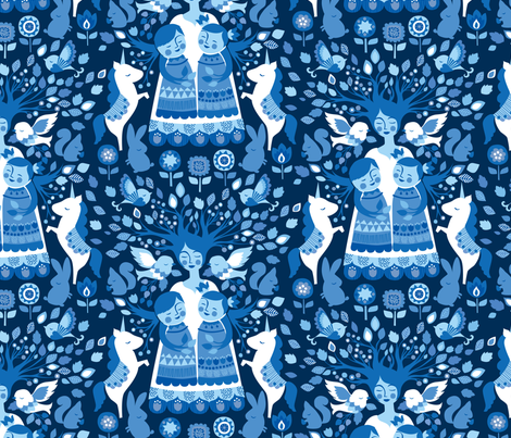 The Mother Tree {Folk Navy} fabric by ceciliamok on Spoonflower - custom fabric