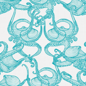 Cephalopod - Octopi Turquoise & White
