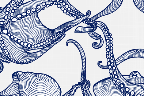 Cephalopod - Giant Octopi Navy & White fabric by docious_designs_by_patricia_braune on Spoonflower - custom fabric