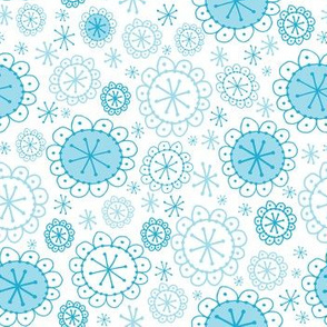 Random Boho Blooms Sky Blue