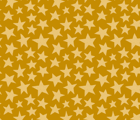 Doodle Stars on Mustard fabric by thewellingtonboot on Spoonflower - custom fabric