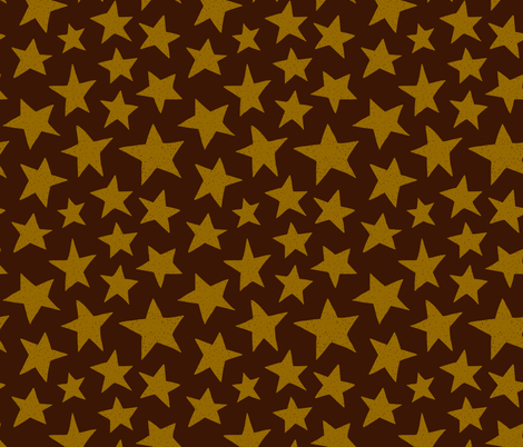 Doodle Stars on Brown fabric by thewellingtonboot on Spoonflower - custom fabric