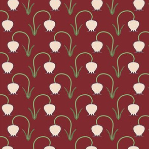 Tulips Brick Red Upholstery Fabric