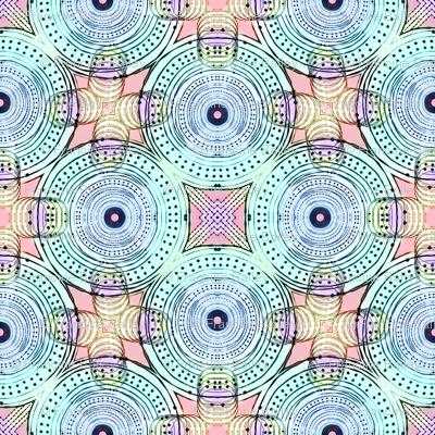 Colour Me Boho! Disk Distort /  Aqua,Blue,Pink,Purple