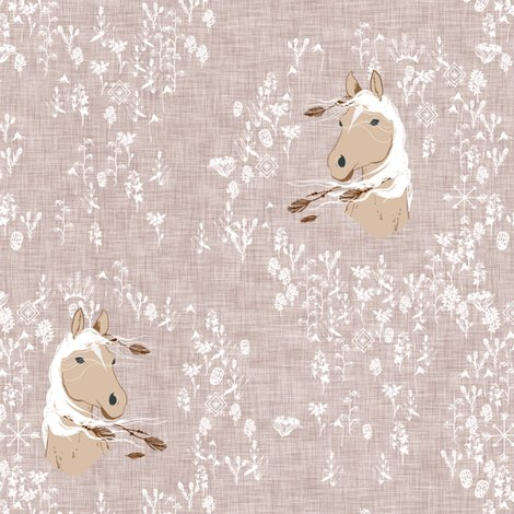 Horse_-_floral_-_warm_grey-02_linen_shop_preview