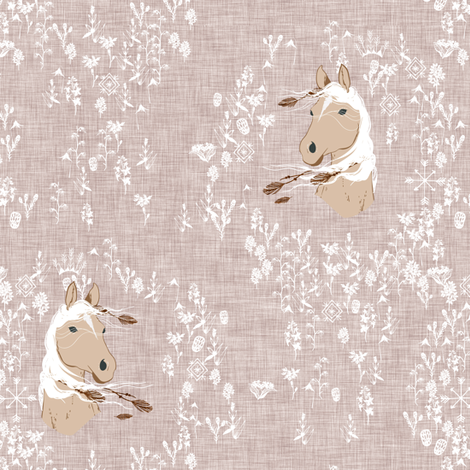 Pony Meadow (warm grey) fabric by nouveau_bohemian on Spoonflower - custom fabric