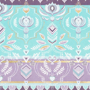 Decorative Boho Stripes in Aqua, Purple, Gold & White