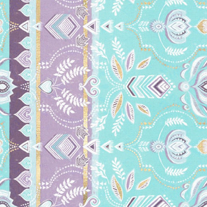 Decorative Boho Stripes in Aqua, Purple, Gold & White Rotated