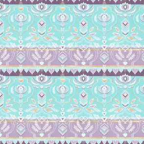 Decorative Boho Stripes in Aqua, Purple, Gold & White Small Print