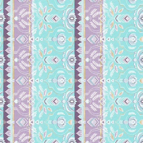 Decorative Boho Stripes in Aqua, Purple, Gold & White Rotated Small Version