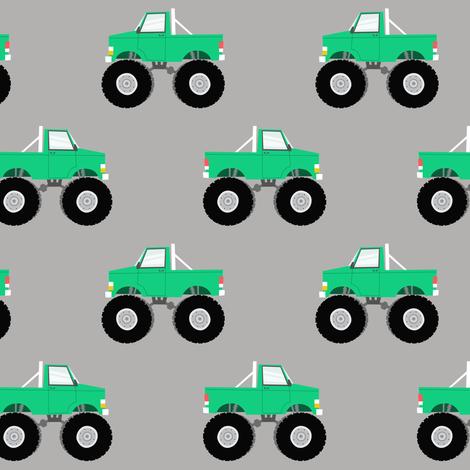 monster trucks - green fabric by littlearrowdesign on Spoonflower - custom fabric