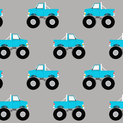monster trucks - blue fabric by littlearrowdesign on Spoonflower - custom fabric