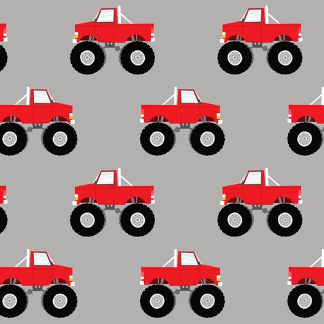 Monster trucks red fabric littlearrowdesign spoonflower for Monster truck fabric