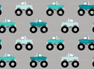 monster trucks - multi blue