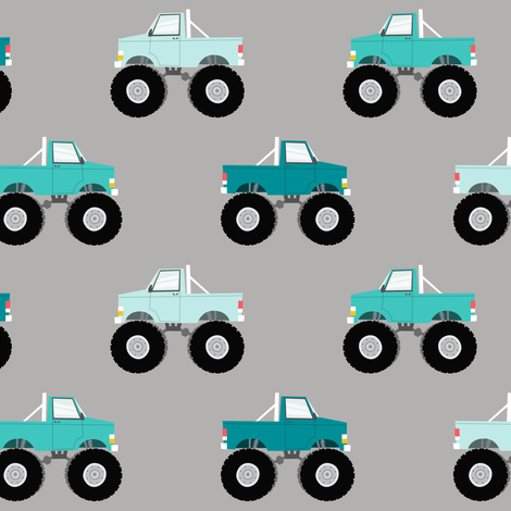 Monster trucks multi blue fabric littlearrowdesign for Little blue truck fabric