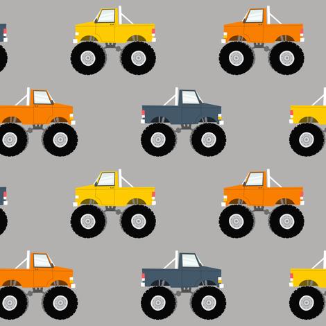 monster trucks - multi  fabric by littlearrowdesign on Spoonflower - custom fabric