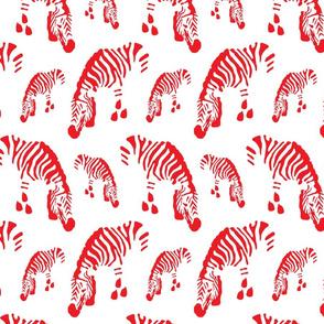 Linz Zebras in bright red on white