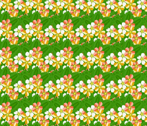 Strawberry_patch_blooms_and_leaves_colourful fabric by anino on Spoonflower - custom fabric