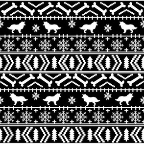 Border Collie fair isle christmas sweater cute dog fabric black and white