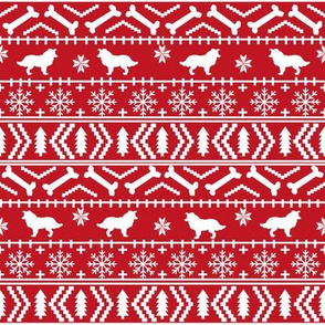 Border Collie fair isle christmas sweater cute dog fabric red