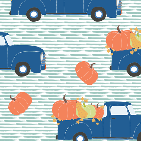 "10"" Fun At The Pumpkin Patch - Muted Blue Stripes fabric by shopcabin on Spoonflower - custom fabric"