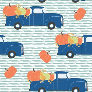 "10"" Fun At The Pumpkin Patch - Muted Blue Stripes"