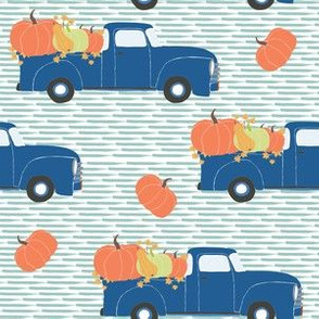 "6"" Fun At The Pumpkin Patch - Muted Blue Stripes"