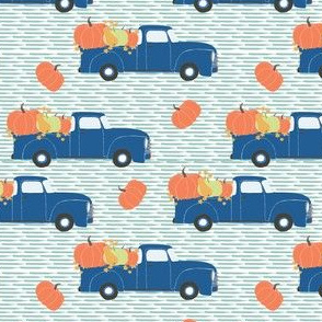 "4"" Fun At The Pumpkin Patch - Muted Blue Stripes"