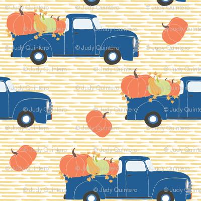 "4"" Fun At The Pumpkin Patch - Yellow Stripes"