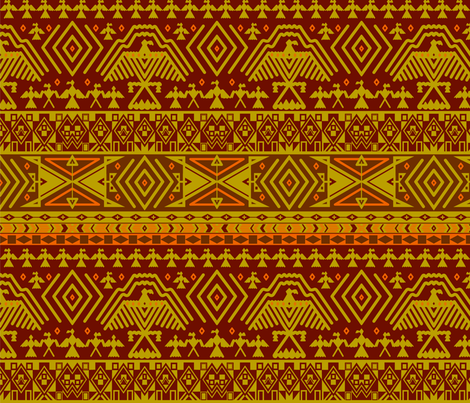 Yellow tribal design fabric by svetlana_prikhnenko on Spoonflower - custom fabric