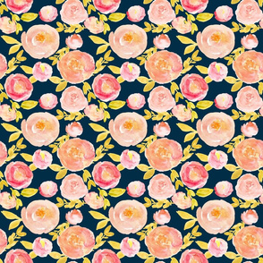 pink peach soft watercolor floral on navy