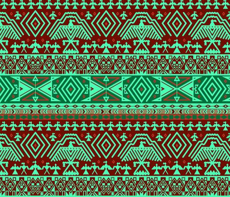 Green tribal design fabric by svetlana_prikhnenko on Spoonflower - custom fabric