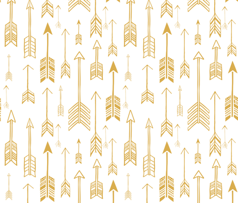 """21"""" Gold & White Background  Rustic Arrows fabric by shopcabin on Spoonflower - custom fabric"""