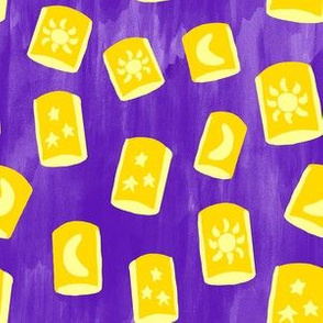 Yellow Lanterns on Purple Background