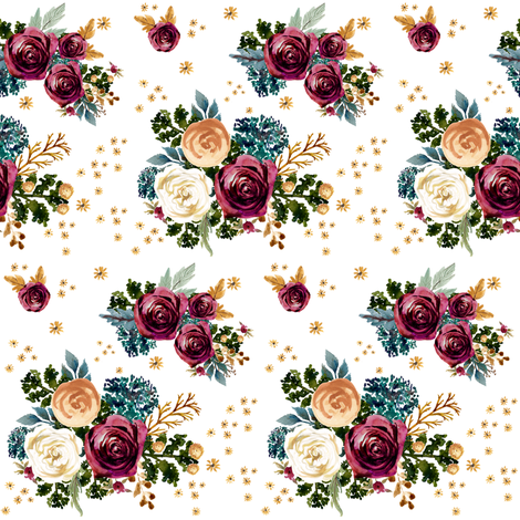 "4"" September Rain - White fabric by shopcabin on Spoonflower - custom fabric"