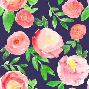 rosy red watercolor floral on indigo