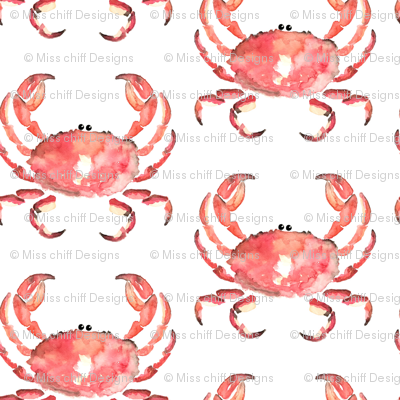 Nautical Crab watercolor || animal red orange white _ Miss Chiff Designs