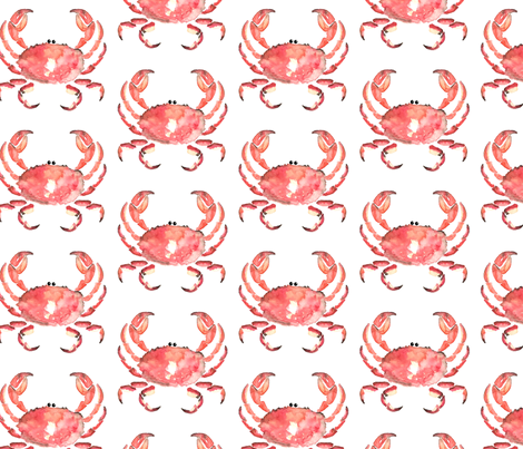 Nautical Crab watercolor || animal red orange white _ Miss Chiff Designs  fabric by misschiffdesigns on Spoonflower - custom fabric