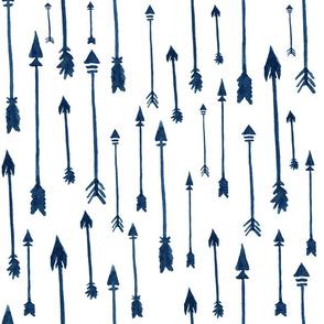"""18"""" Rustic Arrows / Watercolor Indigo Blue"""