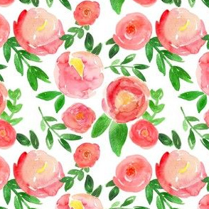 rosy red watercolor floral
