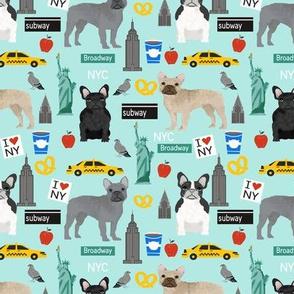 Frenchie dog breed fabric new york city tourist french bulldog aqua