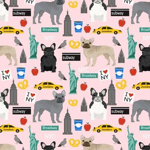 Frenchie dog breed fabric new york city tourist french bulldog light pink