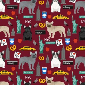 Frenchie dog breed fabric new york city tourist french bulldog marroon